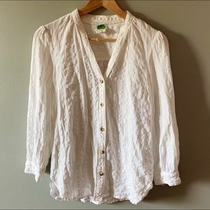 Anthropologie linen blend textured button down top